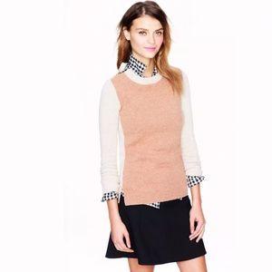 J.CREW Double Zip ColorBlock Sweater Wool camel